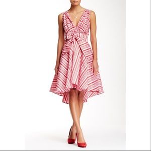 Eva Franco Red & White Libby Hi-Low Dress NEW
